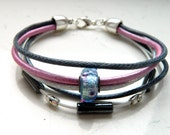 Graphite Grey Waxed Cord Metallic Pink White Holo Leather Hematite Blue Silver Pink Glass Focal Bead Bracelet - Inspired by Shadowhunters