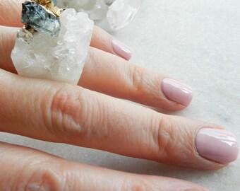 crystal quartz ring, statement ring, tourmaline ring, raw gemstone, gold ring, indicolite, paraiba blue, blue tourmaline, druzy ring