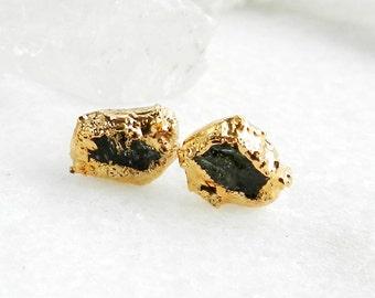 ON SALE peridot earrings, gold earrings, gold studs, raw peridot, august birthstone, druzy earrings, druzy studs, raw gemstone jewelry