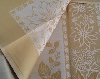 Vintage Gold and Ecru Candlelight Damask Tablecloth -- 60 by 80 inches, In Original Package