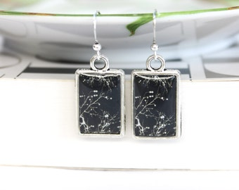 Art resin earrings double sided with black and white tree branches art