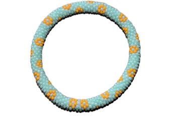 Mint Green with Orange Flower Crocheted Beaded Bracelet, Seed Beads, Handmade in Nepal, Summery
