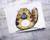 Original cat watercolor painting 7x10' watercolor nursery art fish