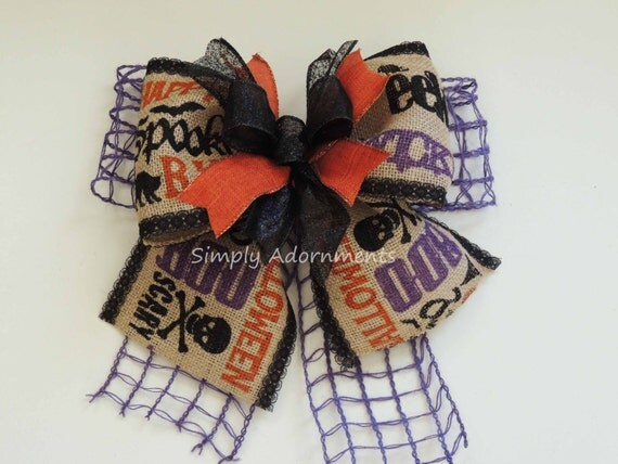Happy Halloween Burlap Door Bow EEK BOO Halloween Scripts Burlap Wreath Bow Funky Halloween Door Hanger Decor Spooky Halloween Decor Bow