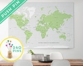 Large Custom World Map CANVAS Gray Green Colors - Countries, Capitals, USA and CANADA States - Personalized Gift Idea Pin It Map, 240 Pins