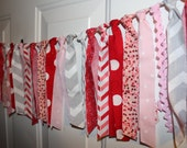 SALE Valentine's Day Be Mine Pink and Gray Fabric Rag Tie Garland Banner - Party Decoration, Baby Shower, Nursery, Photo Prop Backdrop