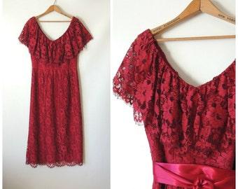 60s 70s Miss Elliette Dress / Raspberry Red Lace Shawl Collar / Off The Shoulder Dress / Low Cut V-Neck Dress / Bohemian Midi Dress / Medium