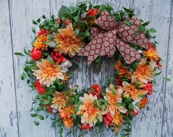 Summer Wreath, Dahlia Wreath, Country Cottage Wreath, English Garden Wreath, Summer Floral Wreath