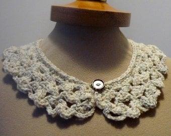 Oatmeal Peter Pan Collar, Crochet Collar, Lace Collar, Oatmeal color, Detachable Collar Necklace, Oatmeal crochet Collar,