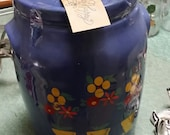 Vintage Ransburg Pottery Cookie Jar featuring Yellow Flower Pots filled with Flowers Decor