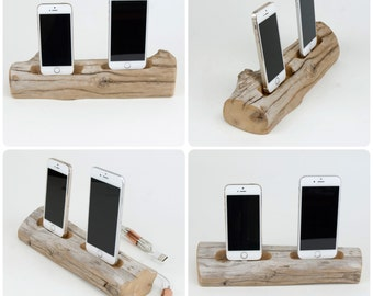 Driftwood Docking Station For Two Smart Phones
