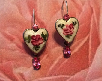 Rose Heart Earrings Vintage Bridal 1930 1940 Guilloche Pink Enamel Rhinestone Fantasy Wedding