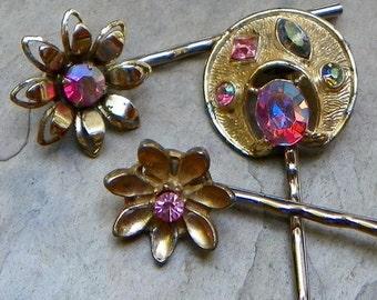 SALEWindyDays Bridal Hair Pins Jewelry 50's Pink Aurora Borealis Bobby Pins