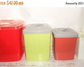 ON SALE Vintage Plastic Kitchen Storage Canisters, Set of 4, Multi Colored, Plas-Tex, Retro, Countertop, Storage, Kitchen, Bathroom, Camper