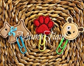 Set of 3 Dog and Paw Print Clips for Planner Journal Book Bible Bookmark