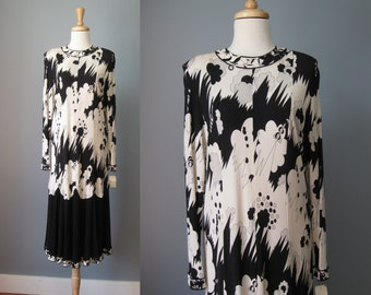 Averado Bessi Silk Jersey Dress / Vtg 70s  / Size 16 /Black and White abstract print silk dress by Averado Bessi / Made in Italy