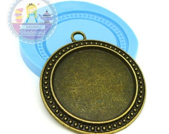 Round Cameo Setting Frame Charm Setting Area 30x30mm Bakery Flexible Mould 315L*  Silicone Mould BEST QUALITY