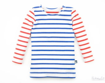 organic cotton toddler girl shirt, blue white striped, 100% organic cotton, long sleeve
