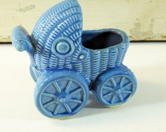 Vintage Blue Pottery Wicker Baby Carriage Planter
