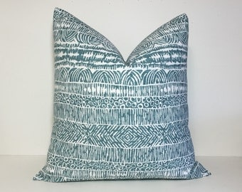Teal blue pillow cover. Tribal design pillow cover. Robert Allen pillow cover. Tribal home decor accent