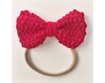 Knit Bow on Elastic band for Babies, Red Knit Bow Headband