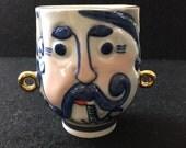 Vintage Ukrainian Cup Kiev Ceramics Shaving Mug Mustached Man Gold Blue White Gypsy Tzar Folk