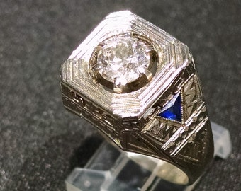 Antique, Heavy, 18k, White, Gold, Sapphire, 1.06ct, Old European Cut, Diamond, Men's, Hand, Engraved, Ring