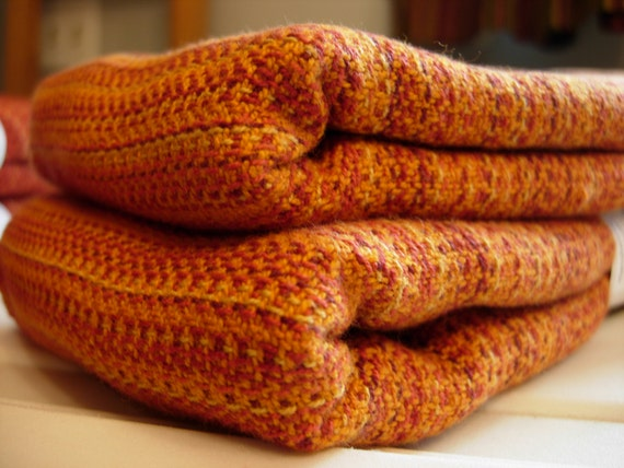 Handwoven Cotton Towel 100% Cotton Orange and Gold 22 x 32 inches