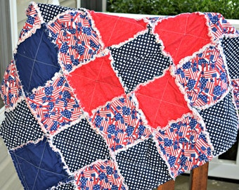 Baby Rag Quilt- Ready to ship Rag Quilt, red rag quilt, blue rag quilt, Americana rag quilt, Baby show gift, baby boy rag quilt,