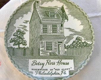 Ironstone Green Transferware Dinner Plate Betsey Ross House Royal China USA 1940s Philadelphia Souvenir