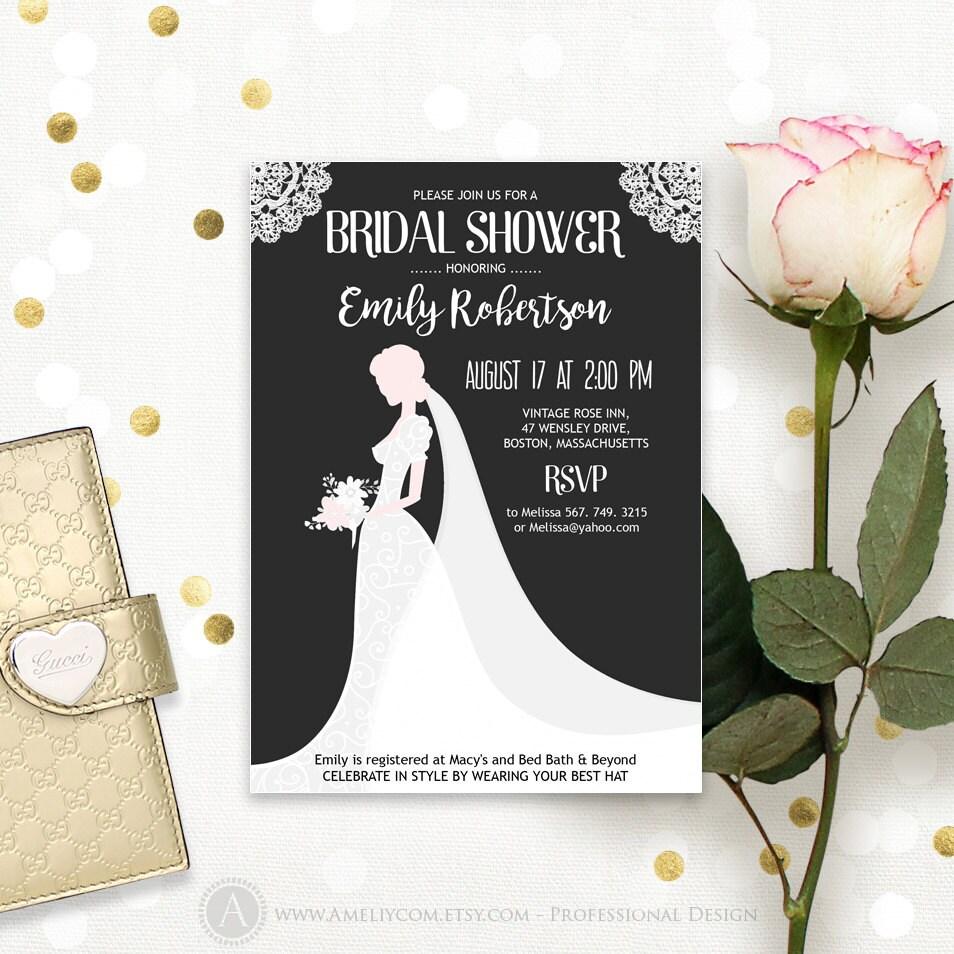 Dress bridal shower invitation black and white printable for Black and white bridal shower invitations