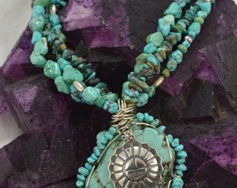 Turquoise and Sunface Pendant
