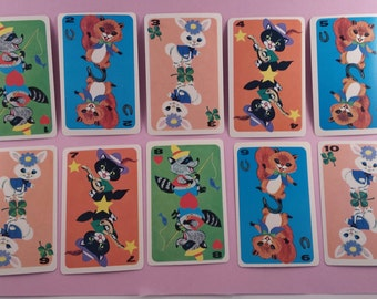 Vintage children's Hearts playing cards 1-10 (E-257)