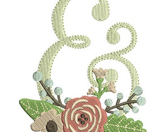 Floral Ampersand Wedding Embroidery Design - Instant Download