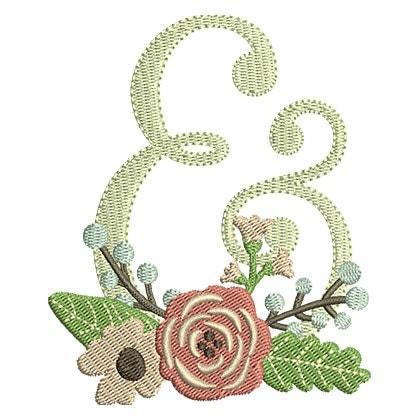 Floral ampersand wedding embroidery design instant for Ampersand decoration etsy