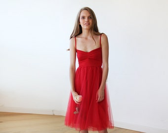 Red short tulle ballerina dress, Romantic red tulle gown, Sweetheart tulle dress 1106