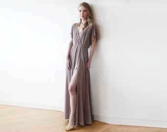 Taupe wrap dress with lace sleeves, Maxi taupe gown with slit, Short sleeves lace dress 1052