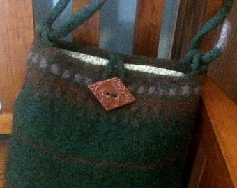 Forest Green and Brown felted knit wool purse