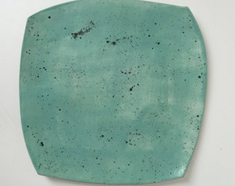 seafoam satin glaze with black speckles, plate,