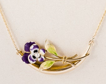 Antique Necklace - Antique Art Nouveau 14k Yellow Gold Enamel Flower Conversion Necklace