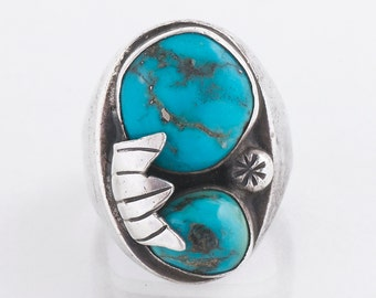 Vintage Turquoise Ring - Vintage Navajo Men's Sterling Silver and Turquoise Ring