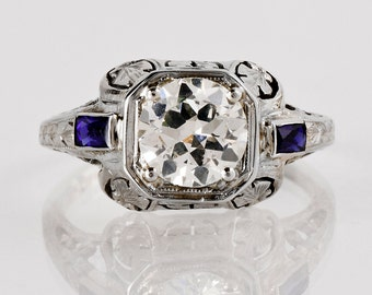 Antique Art Deco 18k White Gold Filigree Diamond and Sapphire Engagement Ring