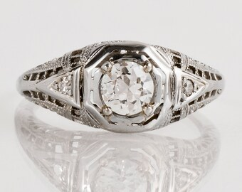 Antique Egagement Ring - Antique 1920s 18k White Gold Filigree Diamond Engagement Ring