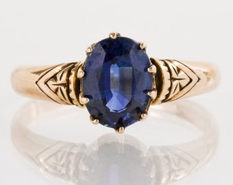 Antique Ring - Antique Victorian 15k Rose Gold Sapphire Ring