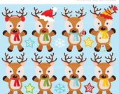 50% OFF SALE Clipart - Christmas / Santas Reindeer - Digital Clip Art (Instant Download)