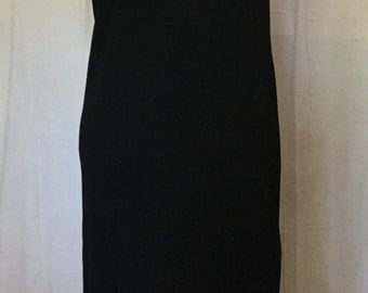 1980's dress in black knit with pearls