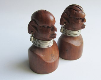 Tribal Salt Pepper Shakers Hand Carved African Wood