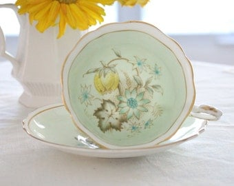 Vintage, Double Warrant Paragon By Appointment English Fine Bone China, Tea Cup and Saucer, Gifts or Her - c. 1939 - 1949