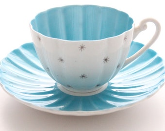 RARE, Shelley Vintage, English Fine Bone China, Ludlow Shape Teacup & Saucer, Pole Star Pattern, Replacement China - ca. 1940 - 1966