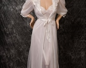 Valentines Day Sale Vintage Val Mode Chiffon & Satin Bridal Nightgown Robe Gorgeous Small Treasury Item